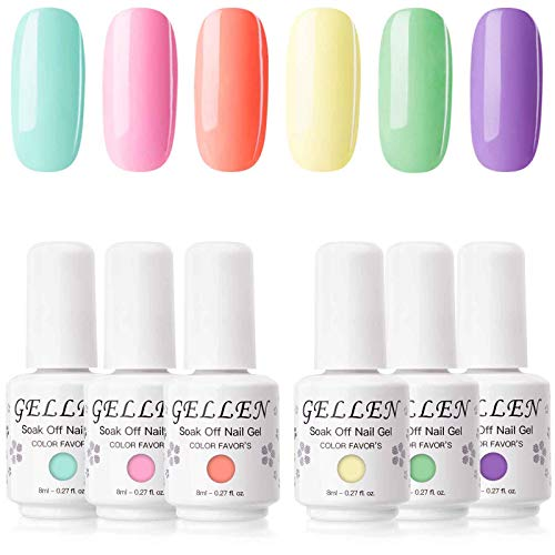 Gellen Gel Nail Polish Set - Bright Cute Sweet Candy 6 Colors , Happy Nail Art Neon Colors UV LED Home Gel Manicure Kit