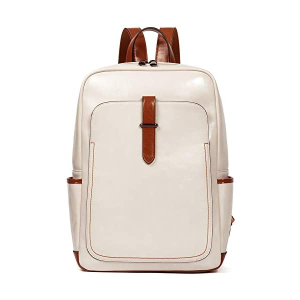 BROMEN Leather Laptop Backpack for Women 15.6 inch Computer Backpack College Travel Daypack Bag 1