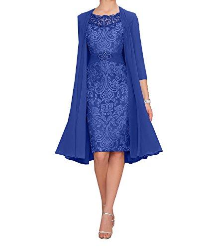 Charmant Damen Elegant Royal Blau Chiffon Abendkleider Brautmutterkleider Partykleider Knielang mit Langarm Bolero-44 Royal Blau