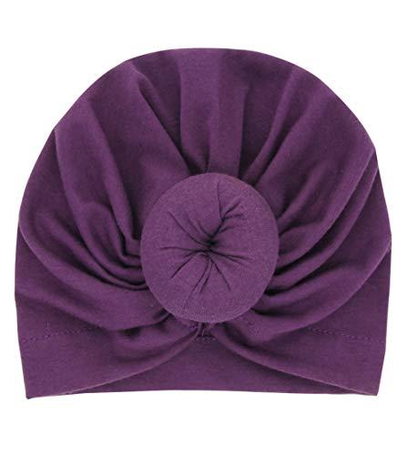 Boomly Neugeborene Baby Stirnband Turban Hüte Elastisch Jersey Slouch Mütze Kreis Kopf wickeln Cap Kapuze Hüte Weiche Mütze (0-3 jahre, Dunkel Purpurn)