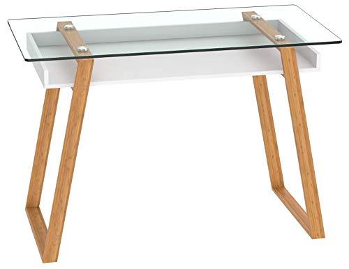 BonVivo® Designer-Schreibtisch Massimo, moderner Sekretär in einem stilsicheren Materialmix aus Glas, Naturholz und weiß lackierter Ablagefläche