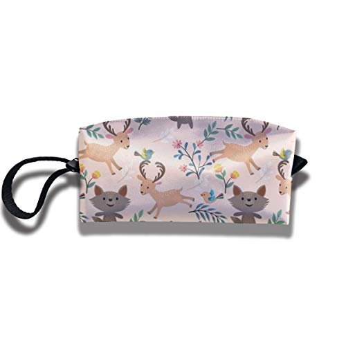 Bbhappiness Pouch Handbag Cosmetics Bag Case Purse Travel & Home Portable Make-up Receive Bag Wolf Deer Garden