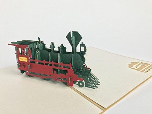 Steam Trein pop-up kaart hobby passie verjaardagskaart vader dag gelukkige verjaardag groeten kaart
