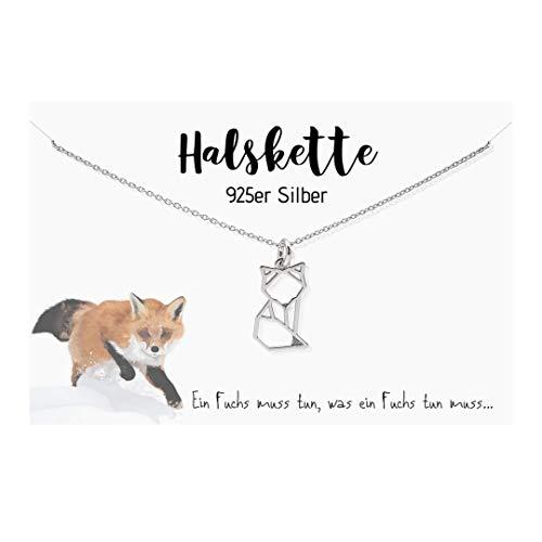 Edelschnitte Halskette Fuchsliebe 925er Silber Fox Fuchs Fuchskette Geschenk