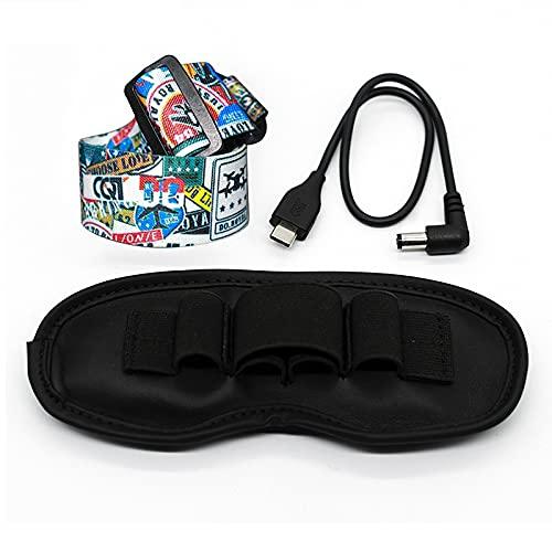 Tmom Verstellbarer Kopfbügel für DJI FPV-Brille V2 Kopfband für VR Brillen Festen Stirnband Videobrille Personalisierte Accessoires (Set Kopfgurt + 30cm-Ladekabel + Staubschutzpad)