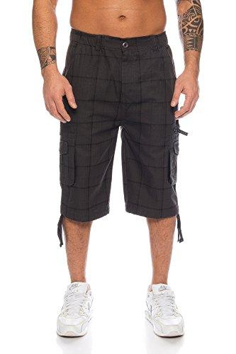 Bermudas de cuadros para hombre, estilo cargo con bolsillos laterales,