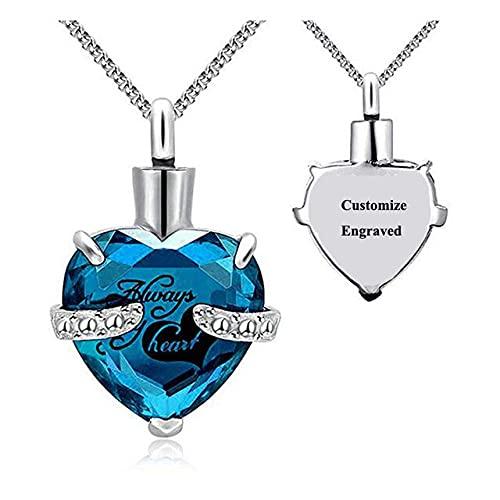 KBFDWEC Siempre en mi corazón Collar de cremación con urna de Cristal Colgante Corazón Memorial Recuerdo Colgante Titular de Ceniza