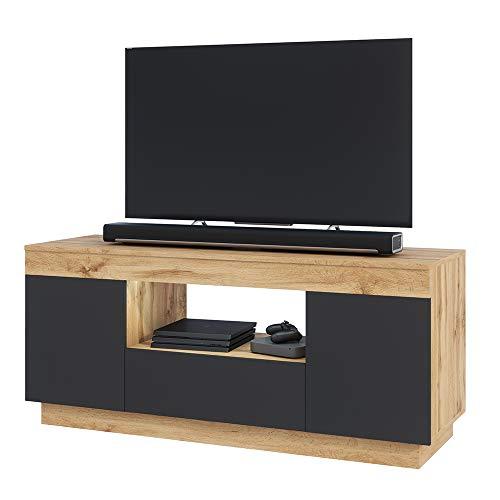 Selsey Gusto - Meuble TV avec LED/Banc TV avec LED (Lancaster/Noir Mat, 137 cm)