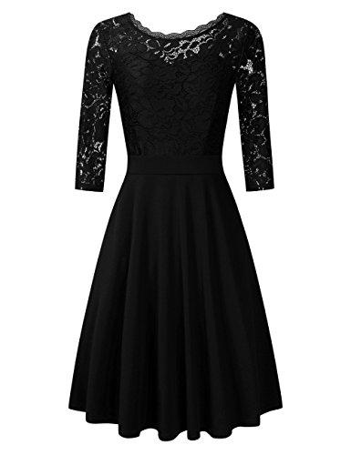 Clearlove Damen Kleider Elegant Spitzenkleid 3/4 Ärmel Cocktailkleid Rundhals Knielang Rockabilly Kleid(Verpackung MEHRWEG), Schwarz, S