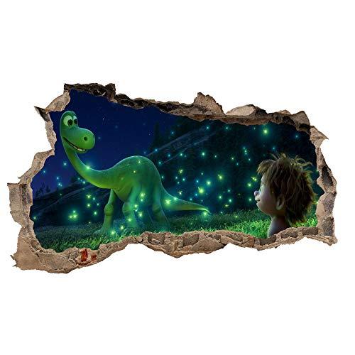 3D Wandtattoo Mauerloch Wandsticker Wandaufkleber Durchbruch Kinder selbstklebend H 60 x B 100 Schlafzimmer Kinderzimmer (WL18 Comic Dino)