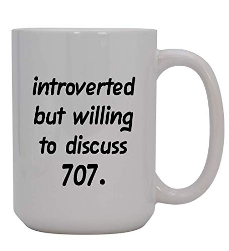 Introverted But Willing To Discuss 707-15oz Ceramic White Coffee Mug Cup, Light Blue