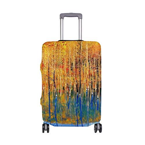 MyDaily Autumn Tree Blue Teich-Abdeckung, passend für 45,7-81,3 cm Koffer, Spandex, nur für Reisen