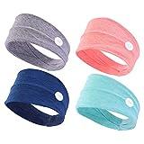 VALICLUD Diadema Elástica de 4 Piezas con Botones para Máscara de Protección para Los Oídos de Envoltura de Cabeza Ancha para Médicos Enfermeras Todos Entrenamiento de Yoga Unisex con Turbante