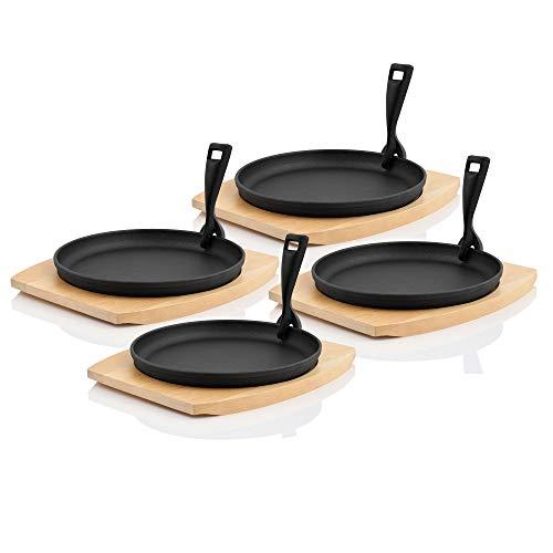 BBQ-Toro Servierpfännchen mit Holzunterlage I Ø 22 cm - rund I Gusseisen Grillpfannen Pfännchen (4)