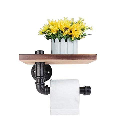 Support pour rouleau de papier toilette, support de papier toilette mural avec étagère en bois
