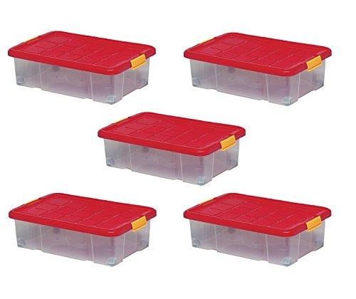 ARTECSIS 5 Boîtes De Rangement Plastique 34L, 60 x 40 x 18 cm, Boîte Dessous De Lit avec Couvercle Et sur roulettes