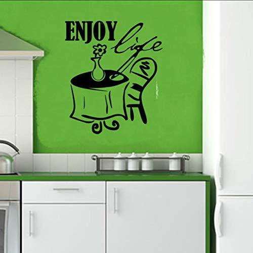 Ponana Genießen Leben Ein Tisch Stuhl Und Blume Wandaufkleber Küche Dekoration Diy Wasserdichte Hause Wandtattoo Mode Dekoration 57X66 Cm