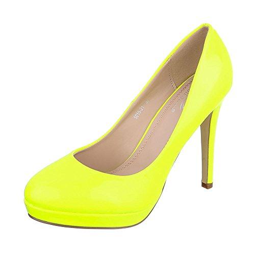 Ital-Design High Heel Damen-Schuhe Plateau Pfennig-/Stilettoabsatz High Heels Pumps Gelb, Gr 37, 5015-21-