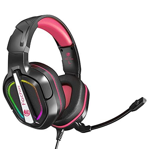 Fachixy Auriculares Gaming PS5 con Micrófono, Reducción de Ruido, Sonido Envolvente, Auriculares con Cable para PS4,PC,Xbox One,N-Switch, Auriculares Diadema con 3.5mm Jack con Luz RGB (Negro Rojo)