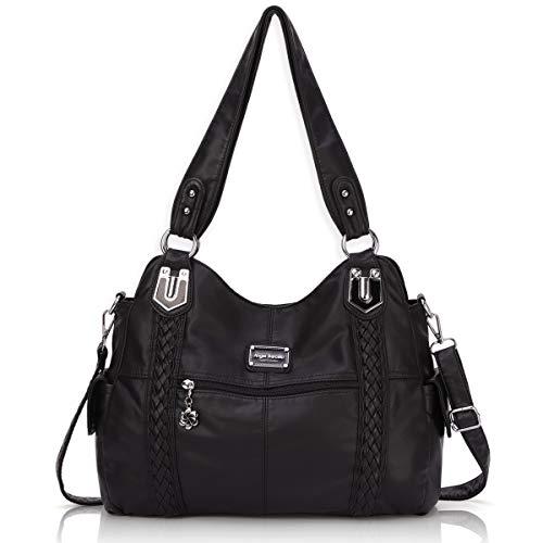 Angel Barcelo Roomy Fashion Hobo Damen-Handtaschen, Umhängetasche, Handtasche, gewaschenes Leder, (7#Schwarz), Large