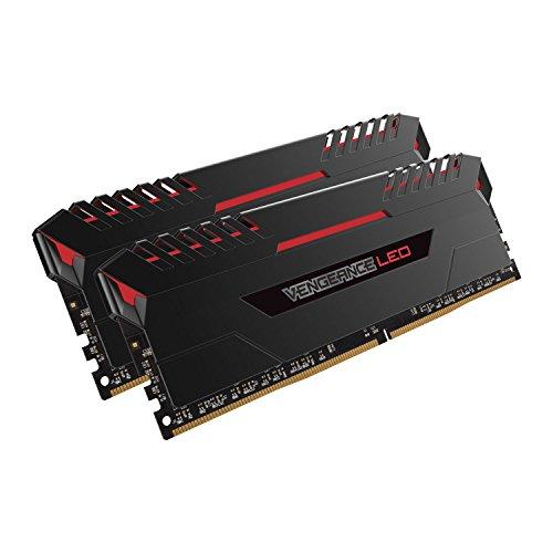 Corsair Vengeance LED Kit di Memoria Illuminato LED Entusiasta 16 GB (2x8 GB), DDR4 2666 MHz, C16 XMP 2.0, Nero con Illuminazione a LED Rosso