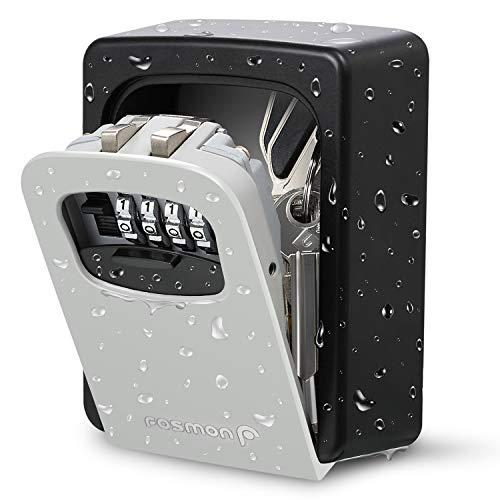 Fosmon - Caja de seguridad para llaves de 4 dígitos, para montar en la pared, oculta una llave exterior con código reiniciable, capacidad para varias llaves y kit de montaje