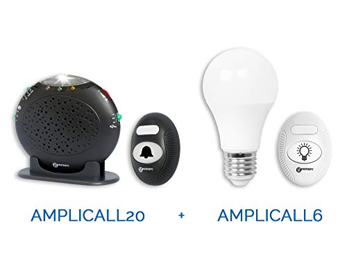 Geemarc Amplicall Pack 20-6 versterkte telefoon extra bel en draadloze deurbel (max 95 dB) met flitslicht en slimme gloeilamp