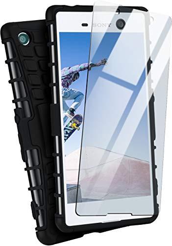 moex Panzerhülle kompatibel mit Sony Xperia M5 - Handyhülle mit Panzerglas, extrem stoßfest, Panzer Outdoor Hülle 360 Grad, Schwarz
