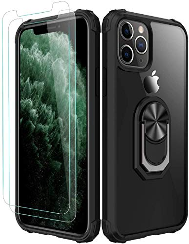 Amuoc iPhone 11 Pro Max Case,[ Military Grade ] with [ Glass Screen Protector] 15ft. Drop Tested Protective Case | Kickstand | Compatible with Apple iPhone 11 Pro Max 6.5 Inch -Black