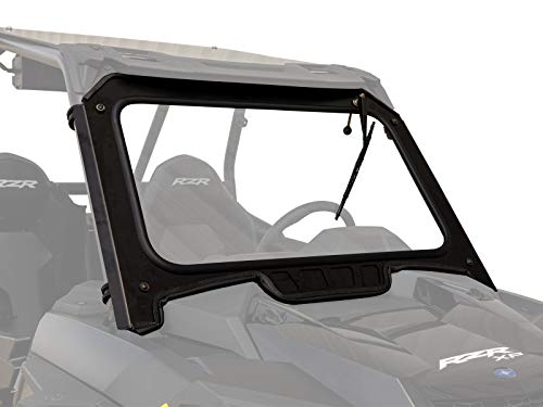 SuperATV Vented Front Glass Windshield for 2019+ Polaris RZR XP 1000 / XP 4 1000   Aluminum Frame   DOT Approved Laminated Safety Glass Windshield   Includes Manual Wiper