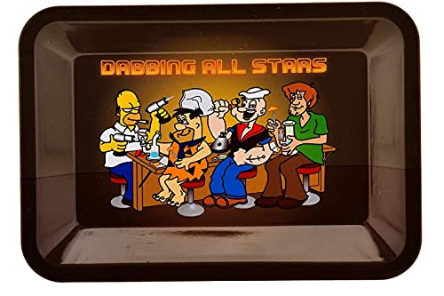 Bandeja para liar Dabbing all stars pequeña - Bandeja de metal de personajes miticos 7 x 5.5