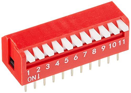 Delock - Interruttore a levetta DIP Piano 11 cifre 2,54 mm THT, 2 pezzi, rosso