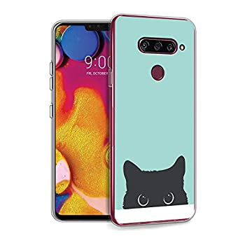 HELLO GIFTIFY Compatible with LG G6 / LG G6 Plus Case Tiffany Blue& Cat Designed on Clear Soft TPU Gel Case for LG G6 / LG G6 Plus  2017  Slim Fit Protective Rubber Cover Case
