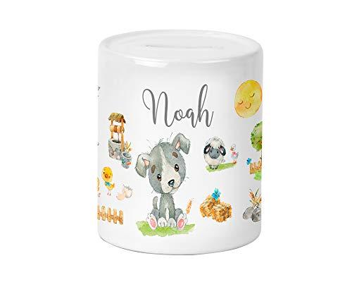 Yuweli Bauernhof Hund Kinder-Spardose für Jungen und Mädchen mit Namen personalisiert zur Einschulung Taufe Geburtstag Sparschwein