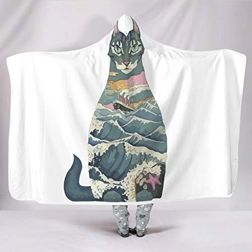 Ouniaodao Fledermaus Decken Japanische Katze Leichtgewicht Gemütlich Mehrfarbig Süß Hutdecke - Japanische Kultur Passend für Alltag für Kinder und Erwachsene Geschenk White 150x200cm