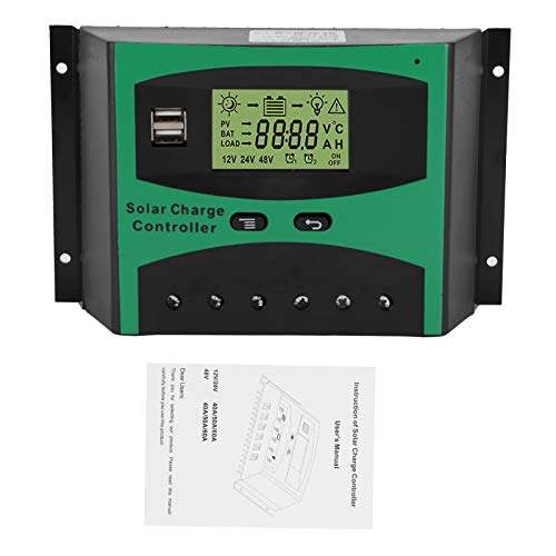 Controlador de carga solar, 60A 12 / 24V Controlador de carga solar Puerto USB dual Buena disipación de calor Panel solar Regulador inteligente