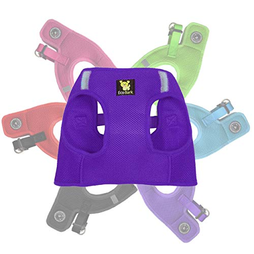 EcoBark Rapid Fastener Super Comfort Fully Adjustable Double Padded Step in Dog Harness (Medium, Purple)