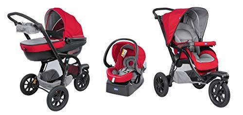 Chicco Trio Activ3 Kinderwagen 3 in 1 Modulares Baby Travel System mit Kit Car, 3-Rad Kinderwagen, Kinderwagenaufsatz und Babyschale Gruppe 0+, mit klappbarem, kompaktem Verschluss, red Berry