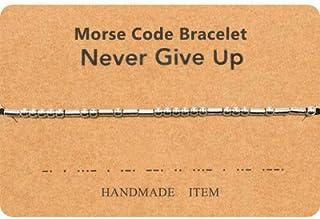 Morse Code Bracelet Unique Gifts for Women Best Friends Beads on Silk Cord Friendship Bracelet