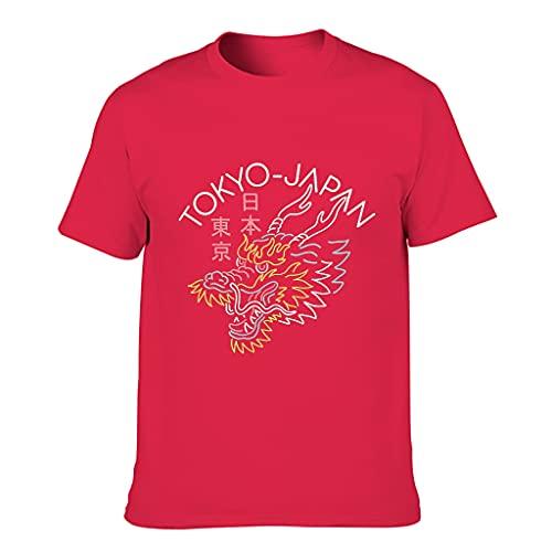 Camiseta de algodón para hombre de Japón Dragon Tokyo – Vintage Classic suelto camiseta de manga corta Red1 S