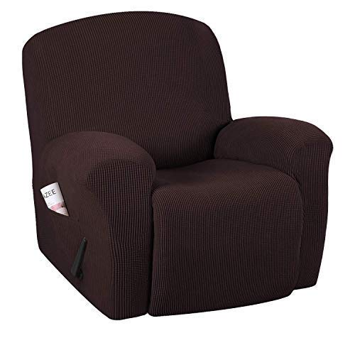 FFAN High Stretch Modern Spandex Sofa Cover Recliner Chair Slipcover 1 Piece Recliner Chair Furniture Cover Slipcover, Machine Washable Lycra Jacquard Fabric Stay in Place, Recliner - Charcoal Grey