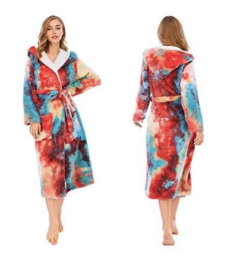 Albornoz para mujer, de felpa suave, de longitud completa, para mujer, bata de baño, bata de baño, unisex, forro polar coral