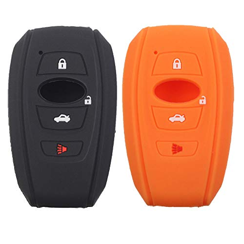 Btopars 2Pcs Silicone Rubber 4 Buttons Smart Key Fob Skin Cover Case Protector Keyless Compatible with Subaru BRZ Forester Impreza Legacy Outback STI WRX Crosstrek Ascent Black Orange