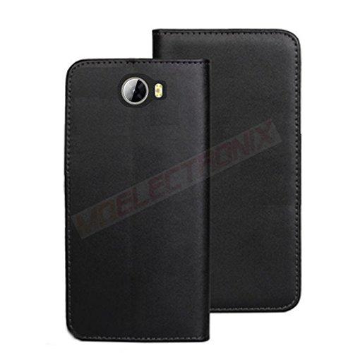 MOELECTRONIX ECHT Leder Buch Klapp Tasche Schutz Hülle Flip Case Etui passend für Huawei Y6 II Compact LYO-L21 - 2