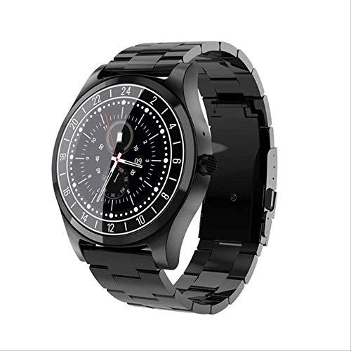 YUJY Smartwatch Männer Smartwatch Fitness Tracker Herzfrequenz Blutdruckmessgerät Wettervorhersage Sport Reloj Für Ios Android Black Metal