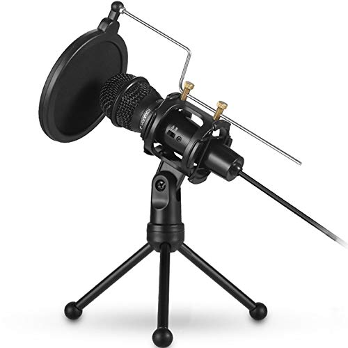 SANON Black Microphone Holder with Windscreen Filter Desktop Tripod Mount Stand for Mic