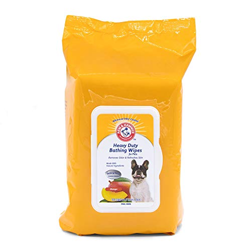 Arm & Hammer for Pets Heavy Duty Multipurpose Pet Bath Wipes   Dog Wipes Remove Odor & Refreshes Skin   Mango Scent, 100 Count, Dog Grooming Wipes for Pets