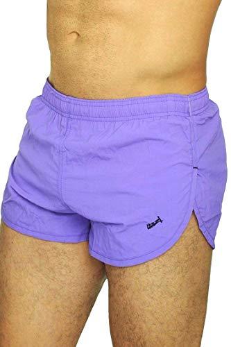UZZI Men's Running Shorts Swimwear Trunks 1830, Neon Purple, Large