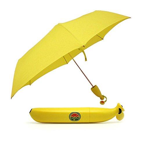 Flikool Creativo Forma Banana Portatile Pieghevole Ombrello Sole/Pioggia Antivento Ombrello da Viaggio...