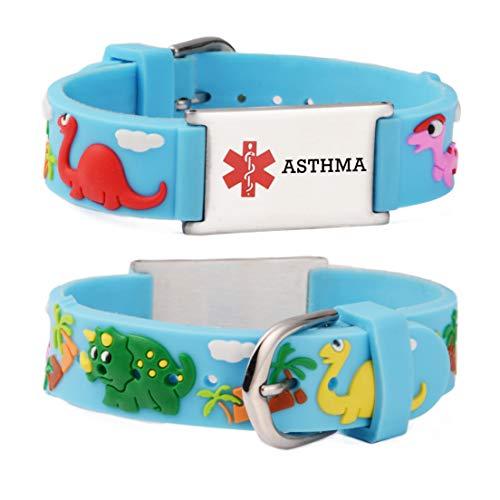 linnalove Cartoon Asthma Medical Alert Bracelet Parents Gift to Son, Daughter, Brother, Sister(Dinosaur)